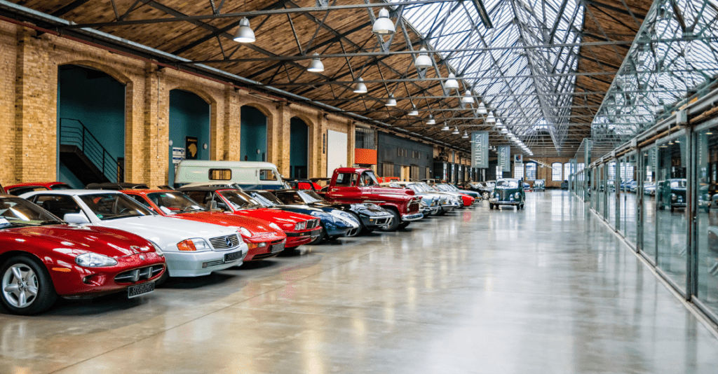 Berlin, Germany - December, 2019: The Classic Remise Berlin, a center for vintage cars. Maintenance, repair shop