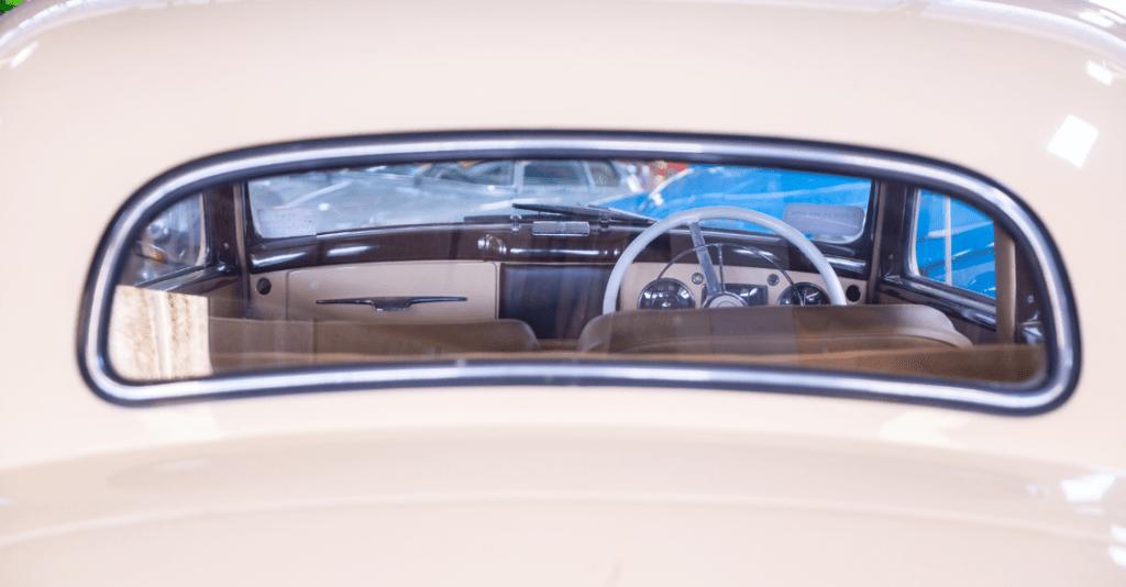 Frame of control wheel inside a vintage car