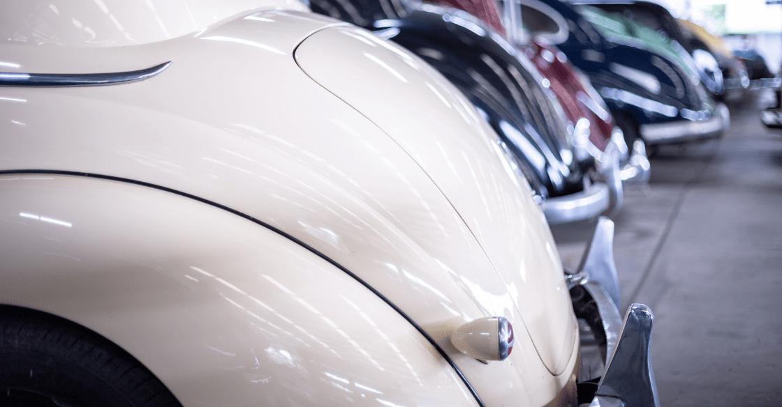 Rare view of vintage car in garage