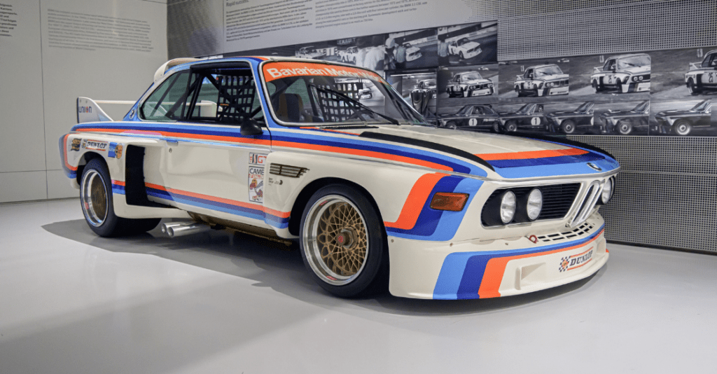 BMW 3.0CSL in a showroom